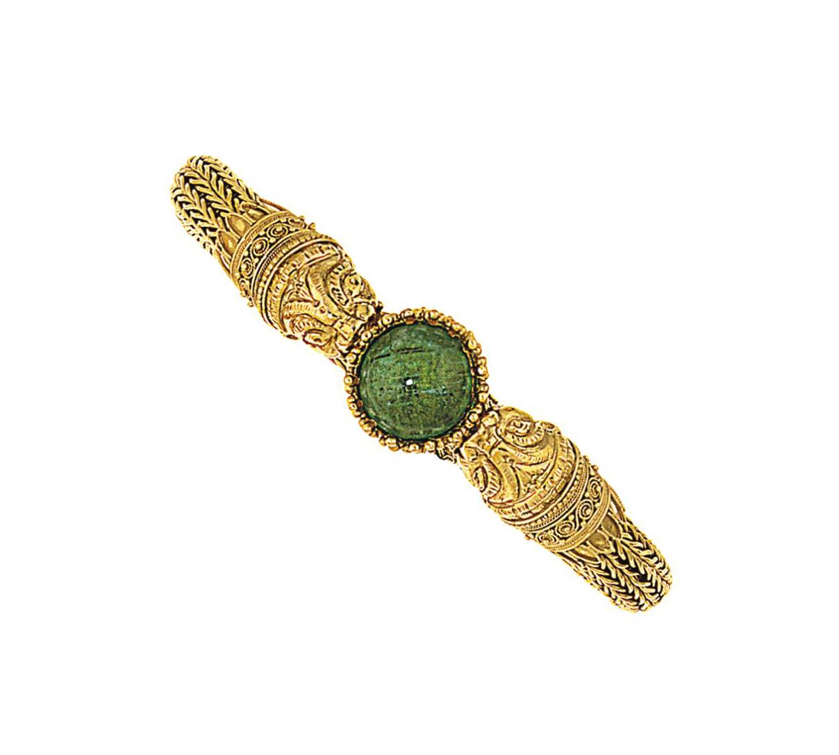 An emerald bracelet