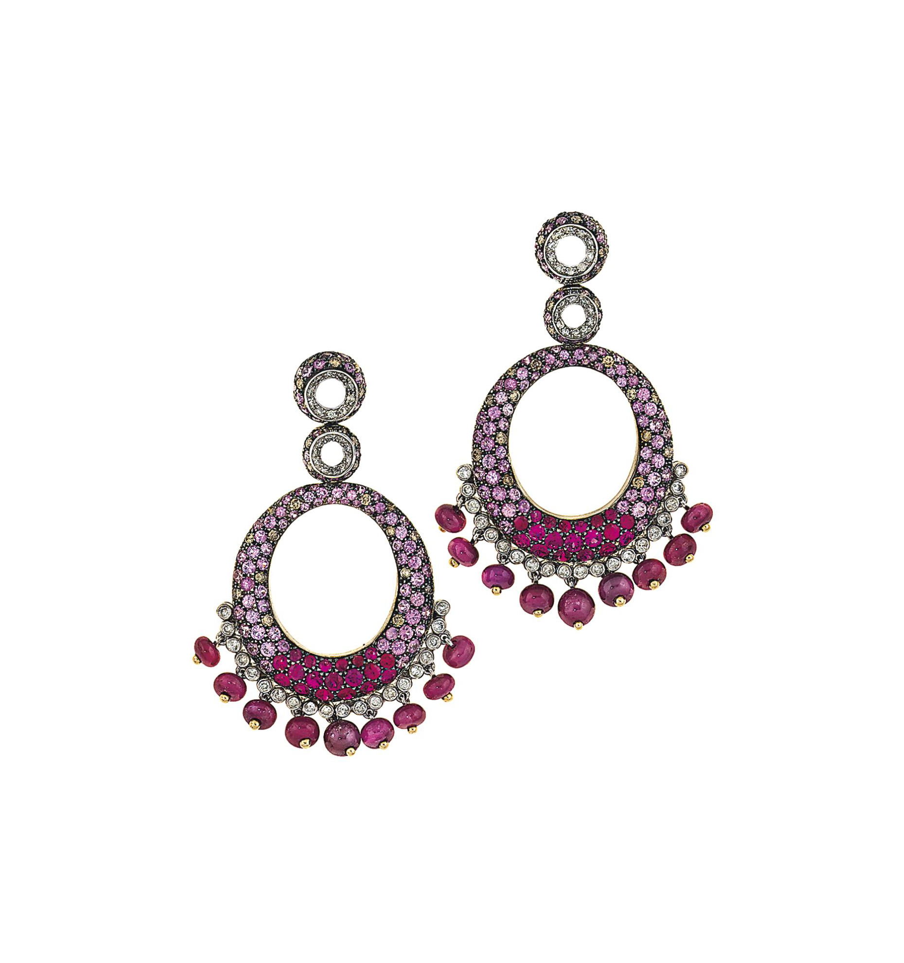 A pair of pink sapphire, ruby