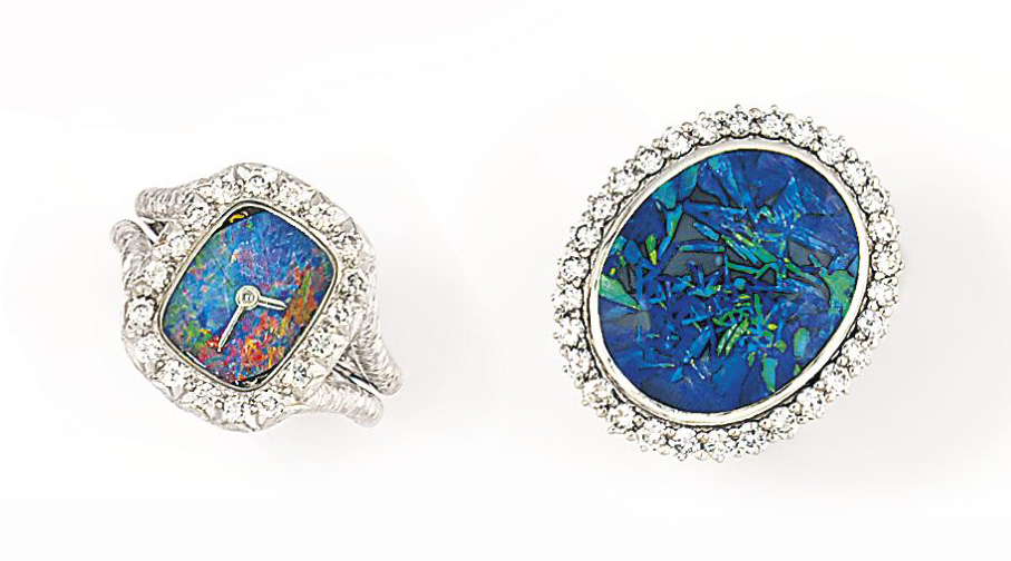 An opal doublet and diamond ring watch, by Bueche-Girod and an opal and diamond ring