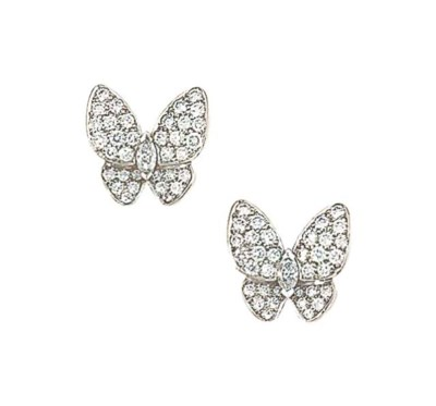 A pair of 18ct white gold and