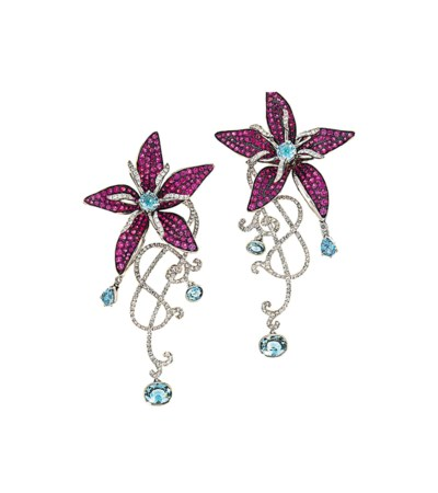 A pair of ruby, aquamarine and