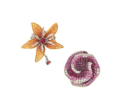 Two diamond and gem-set flower