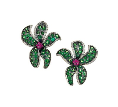 A pair of ruby, green garnet a