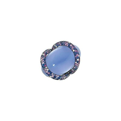 An 18ct white gold, chalcedony