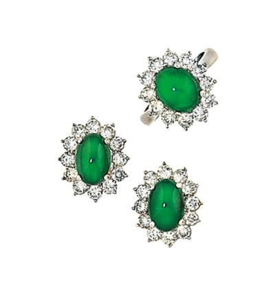 A jadeite jade and diamond ear