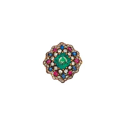 An emerald and gem-set dress r