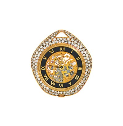 An 18ct gold diamond-set pocke