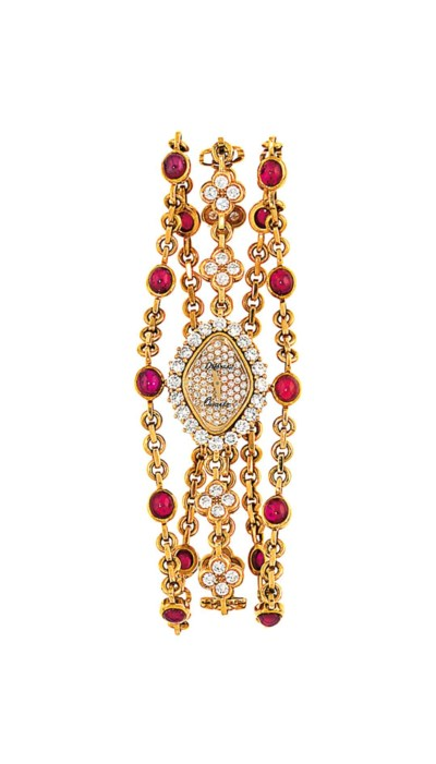 An 18ct gold ruby and diamond-