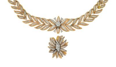 A diamond-set necklace and bro