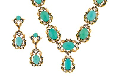 A turquoise and enamel necklac