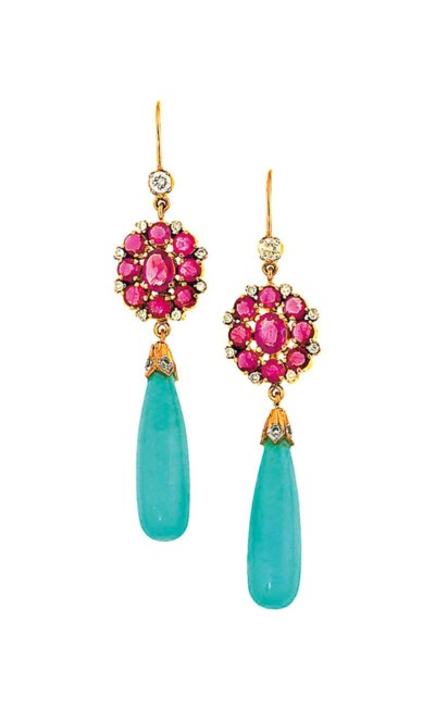 A pair of ruby and turquoise e