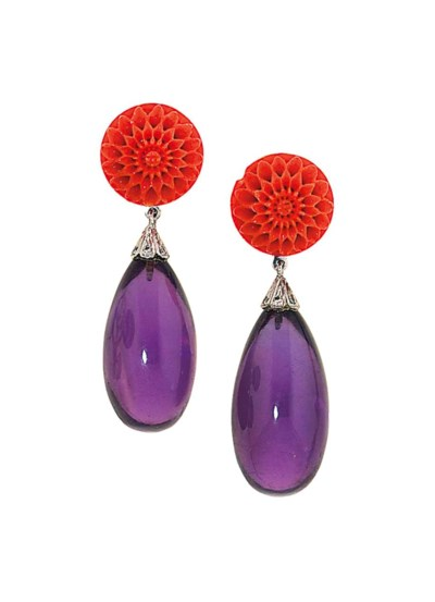 A pair of amethyst and coral p