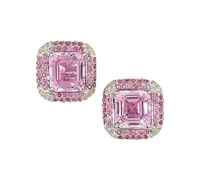 A pair of kunzite, diamond and