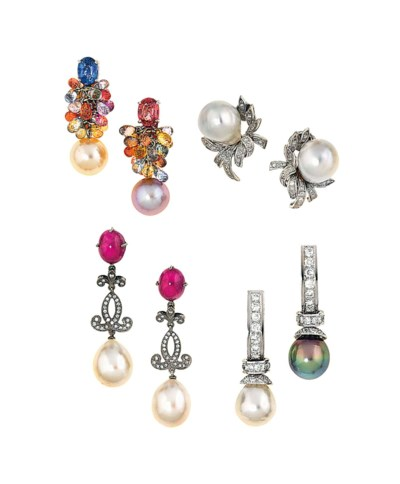 Four pairs of cultured pearl a