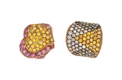 Two diamond, coloured diamond
