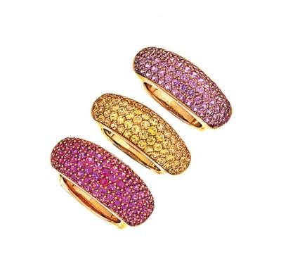 Three vari-coloured sapphire '