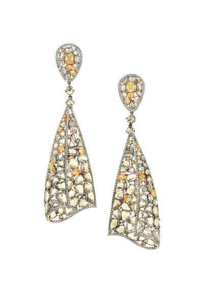 A pair of rose-cut diamond and