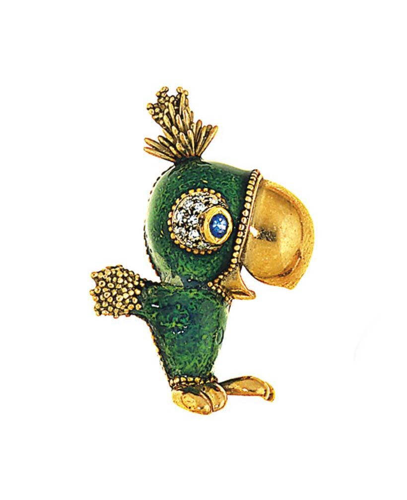 An enamel, sapphire and diamond novelty brooch, by Frascarolo