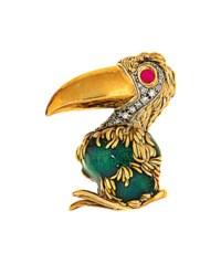An enamel, ruby and diamond novelty brooch, by Frascarolo