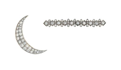 Two diamond-set brooches