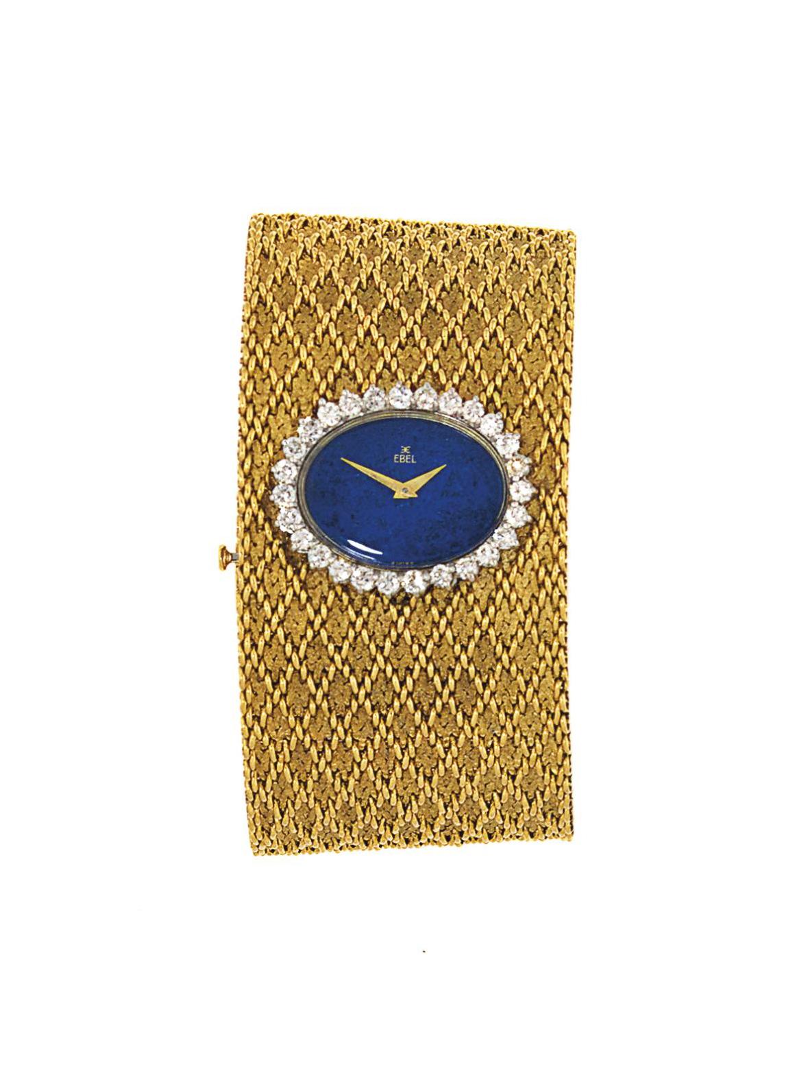 A lapis lazuli and diamond-set bracelet watch, by Ebel