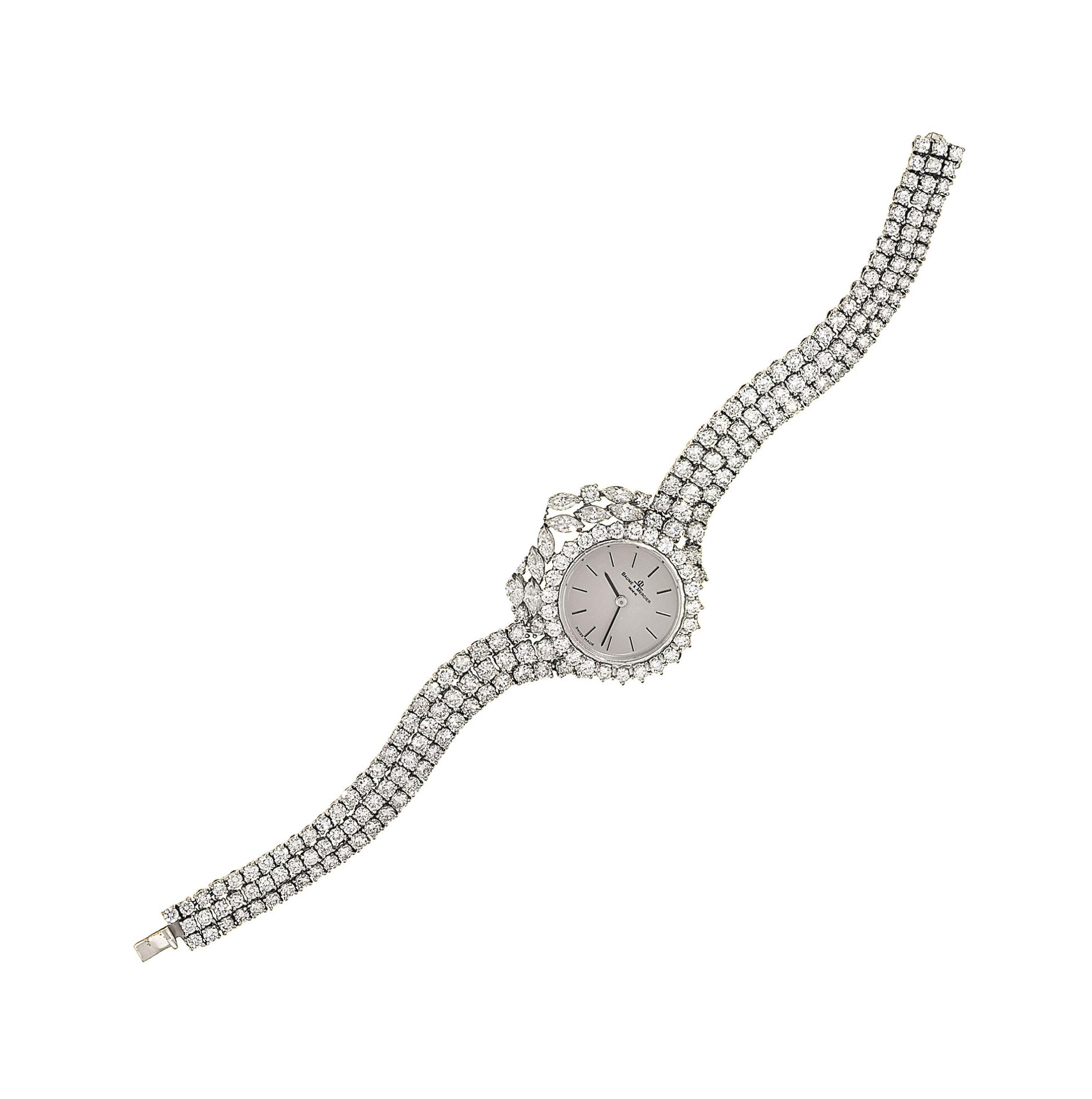 A diamond wristwatch, by Baume & Mercier