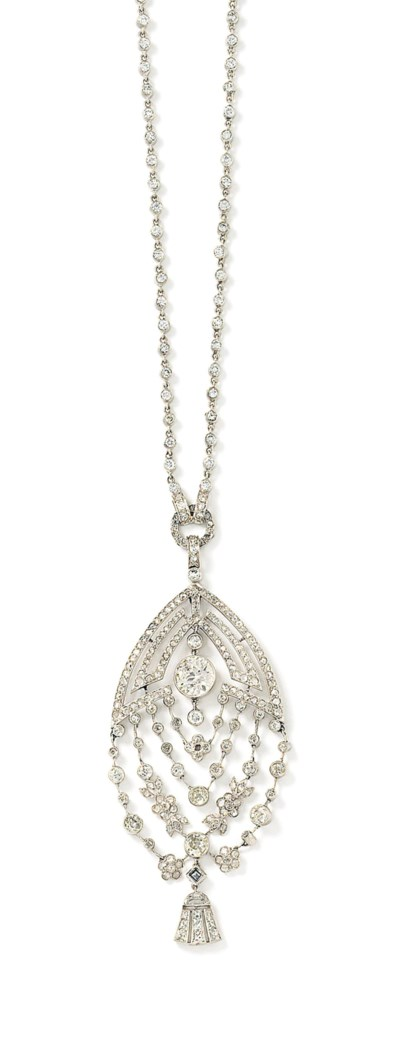 An Art Deco diamond pendant ne