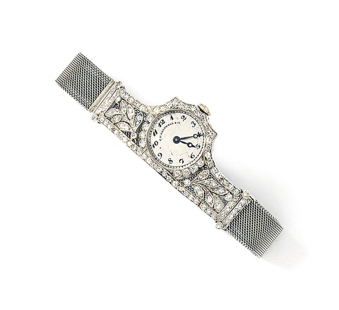 A lady's Art Deco diamond wristwatch, by J.E. Caldwell & Co.