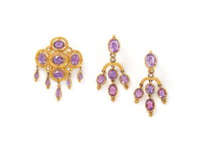 An amethyst brooch and earring
