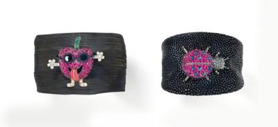 Two gem-set bangles, by De Gri