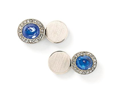 A pair of platinum, sapphire a