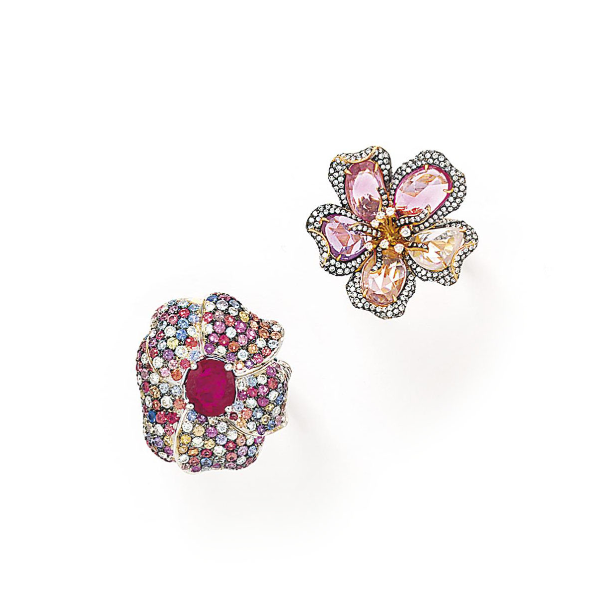 Two diamond and gem flower rings, one by Chatila, one by Jahan