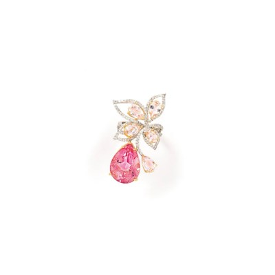 A treated pink topaz, diamond