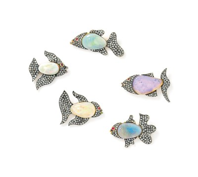 A set of five opal, diamond an