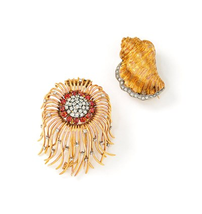 Two gem-set novelty brooches