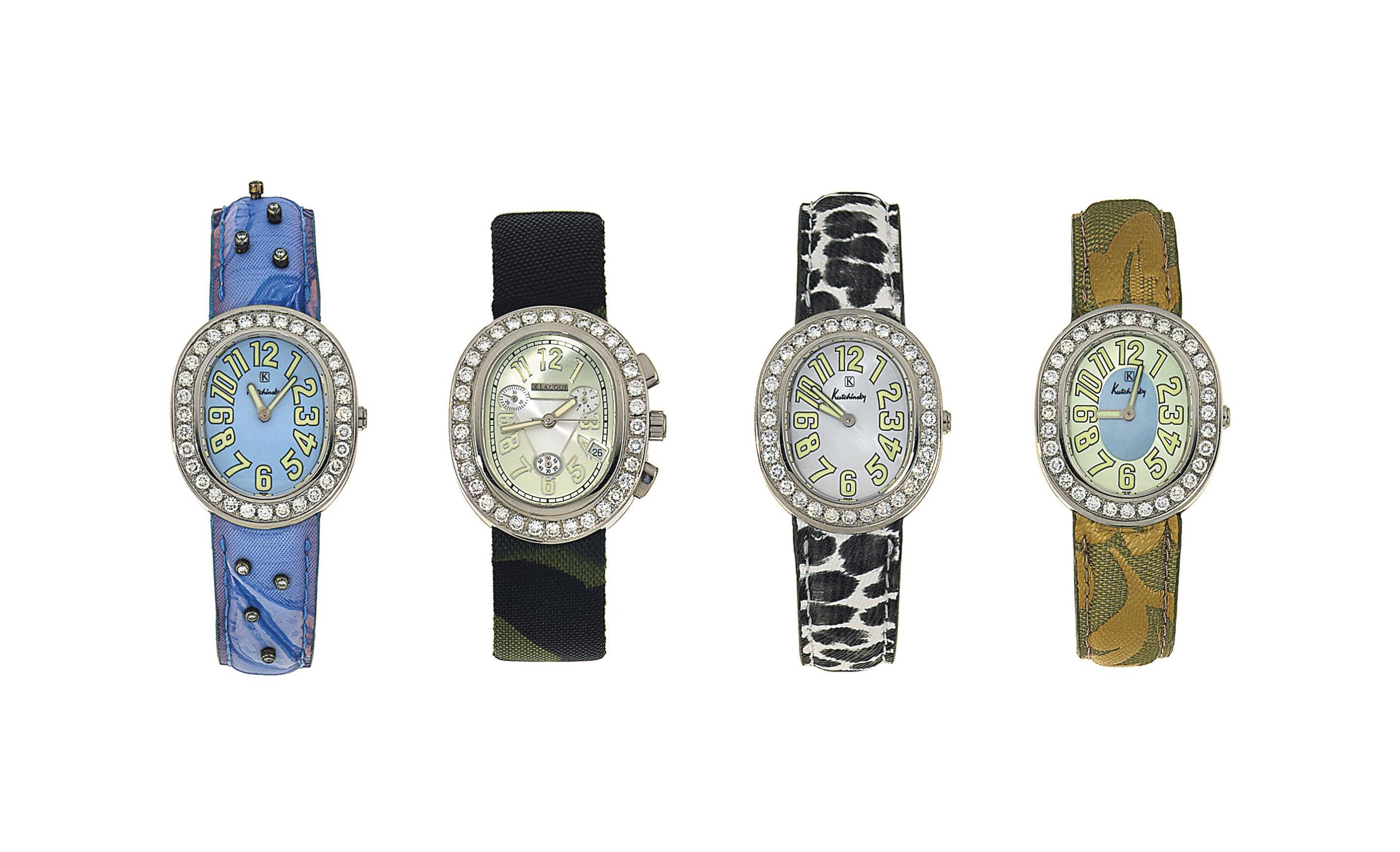 Three diamond-set 'L'Ovale' quartz wristwatches, by Kutchinsky; and a diamond-set 'L'Ovale Medius' chronograph quartz wristwatch, by Delacour
