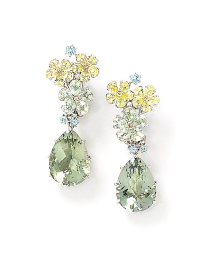 Two pairs of gem and diamond e