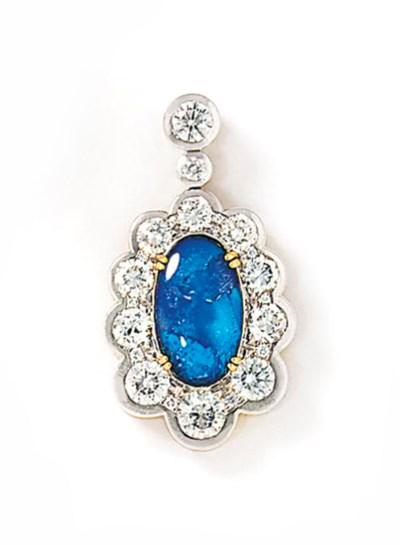 A black opal and diamond penda