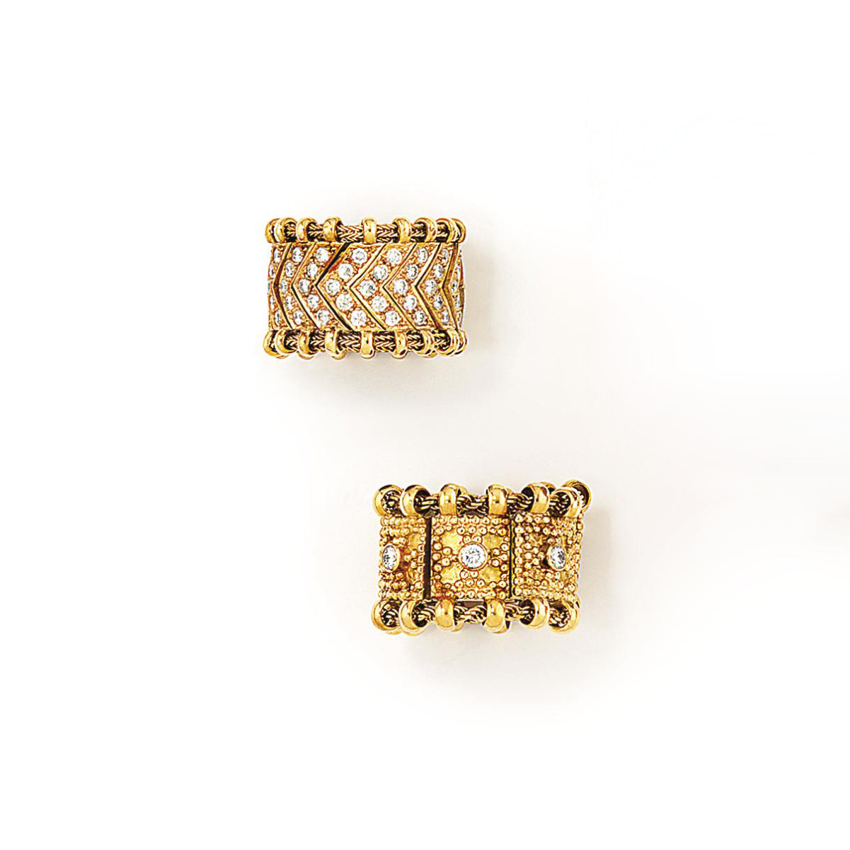 Two 18ct gold diamond-set rings, by Elisabeth Gage