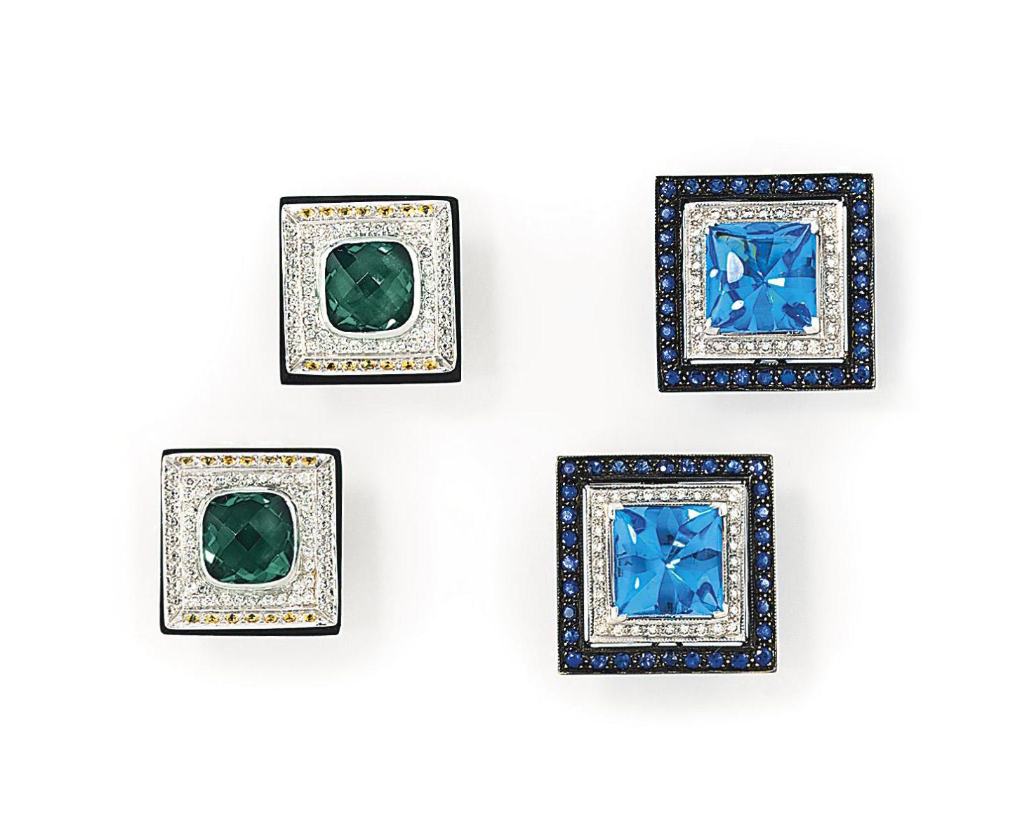 Two pairs of gem-set earrings