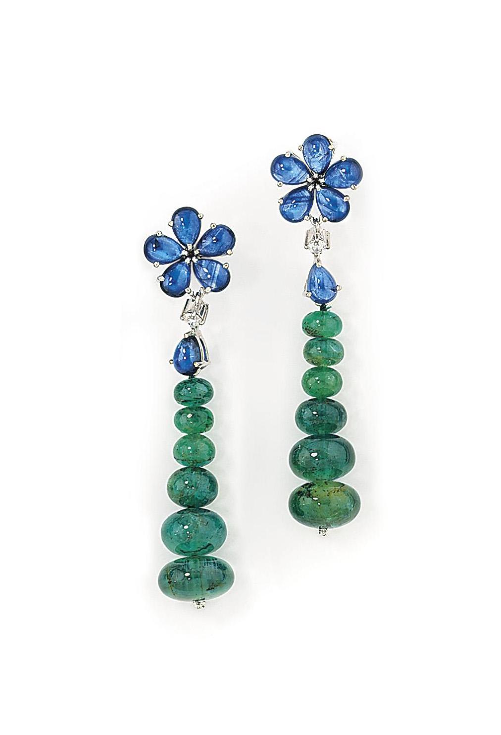 A pair of sapphire, emerald an