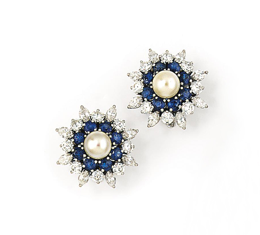 A pair of cultured pearl, sapp