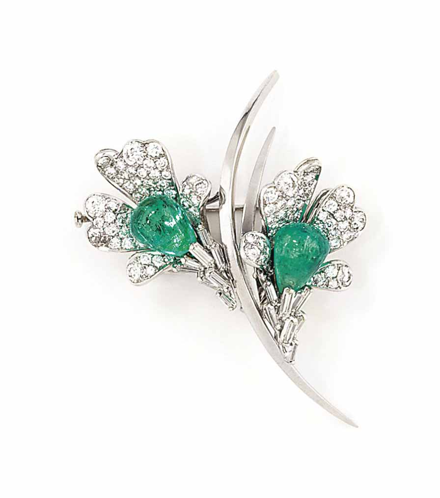 A PAIR OF EMERALD AND DIAMOND EARRINGS, MOUNTED BY KERN