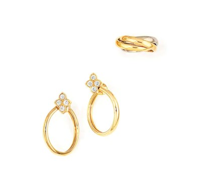 A PAIR OF 18CT GOLD AND DIAMON