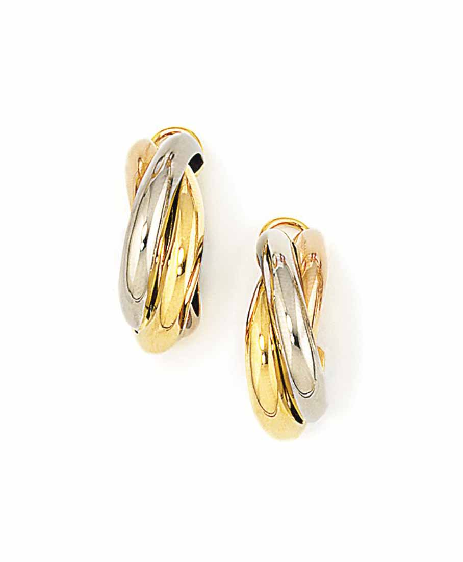 A PAIR OF 'TRINITY' EARRINGS,