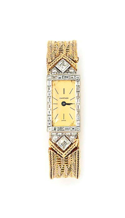 A DIAMOND-SET WRISTWATCH, BY C