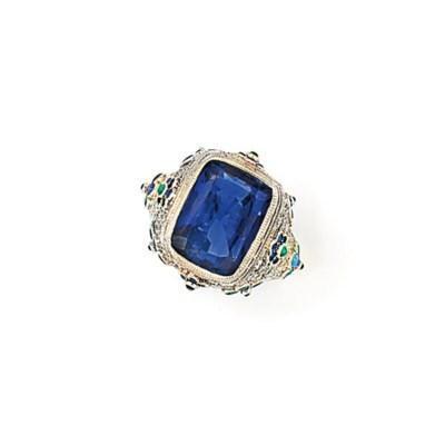 A SAPPHIRE DIAMOND AND EMERALD