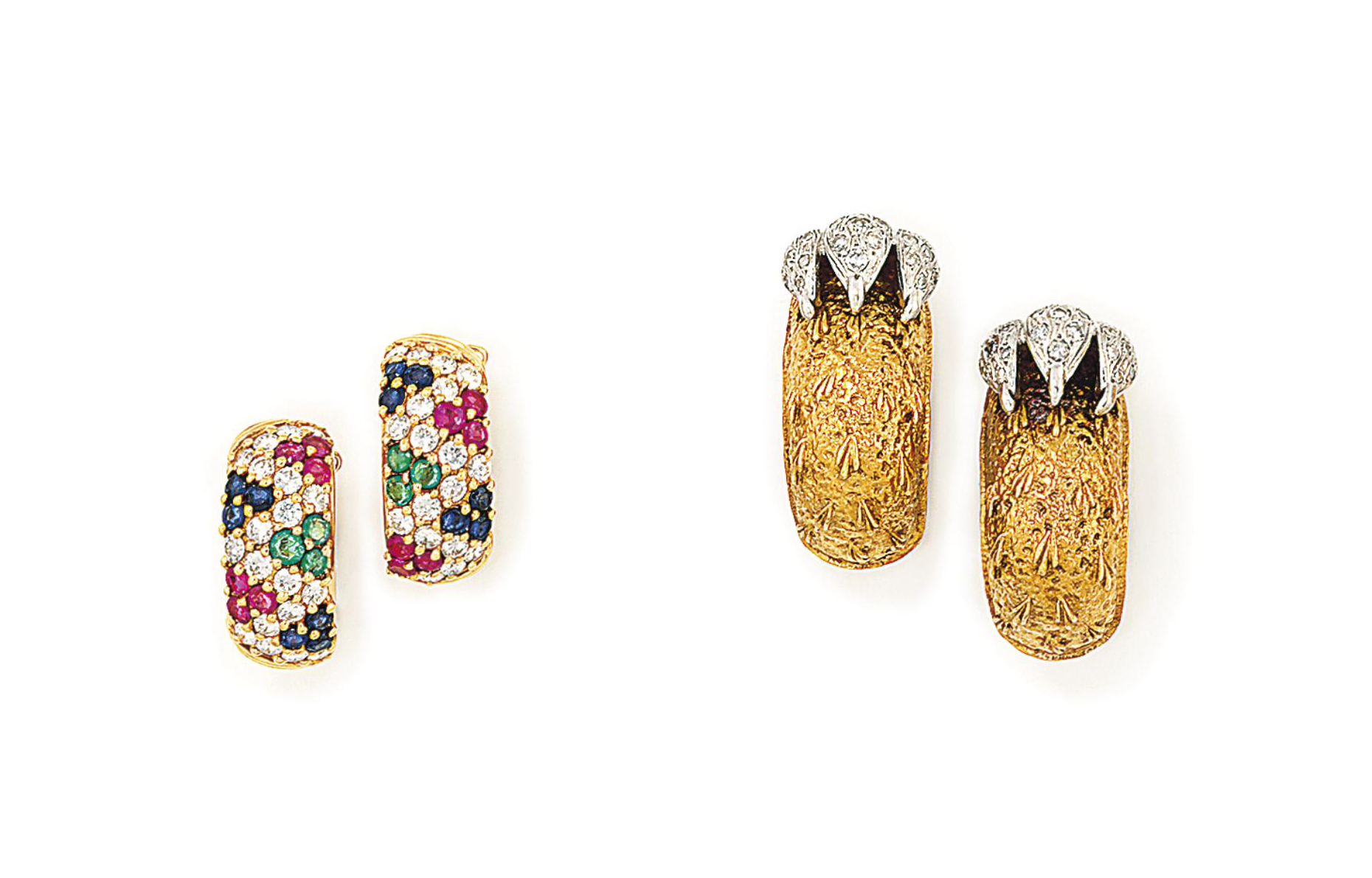 A PAIR OF DIAMOND-SET EARRINGS, BY FRASCAROLO AND A PAIR OF GEM-SET EARRINGS