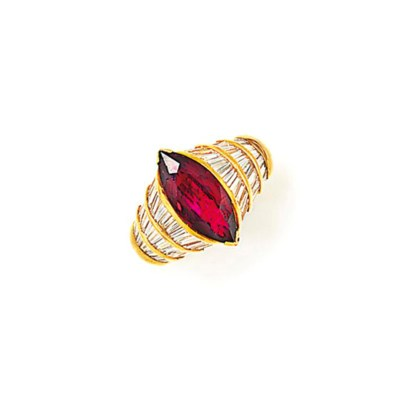A RUBY AND DIAMOND RING, BY AD