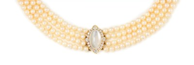 A CULTURED PEARL, MOONSTONE AN